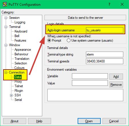 PuTTY paso 2, proporcionar usuario que se loguea