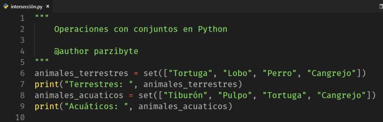 Conjuntos o sets en Python
