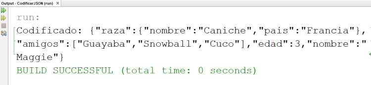 JSON codificado con Java y JSONObject