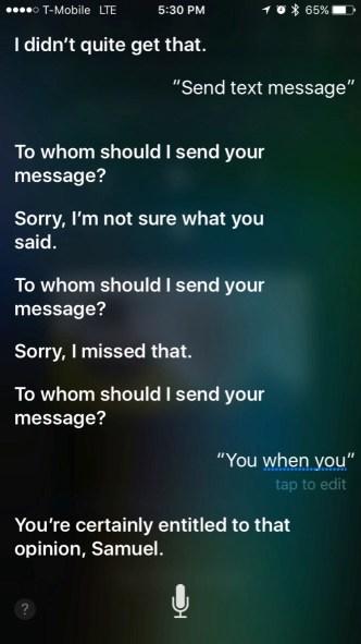 Siri telling me that I'm