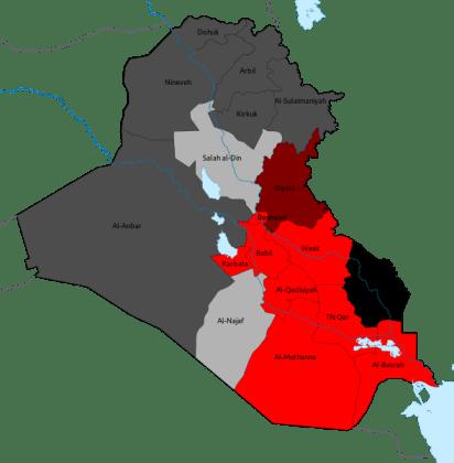 Mapa de resultados: Estado de Derecho (Rojo) Movimiento Sadr (Negro)