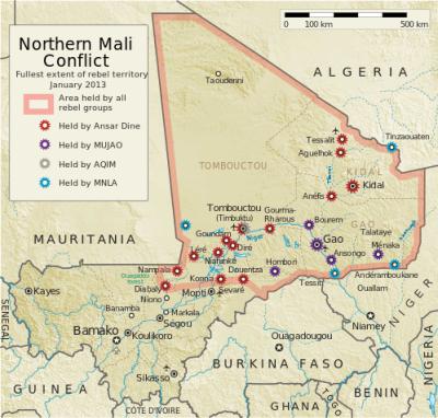 Mapa de la rebelión de Azawad