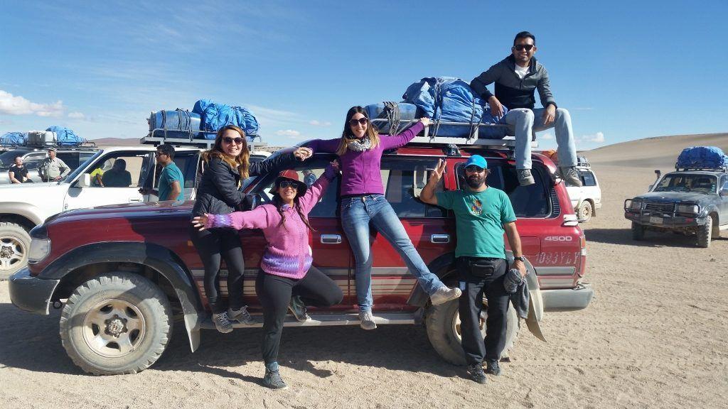 Grupo de viaje en la 4x4