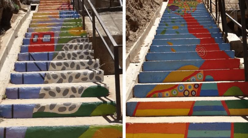 Escalera pasaje Chile - obra de  Constanza Torres