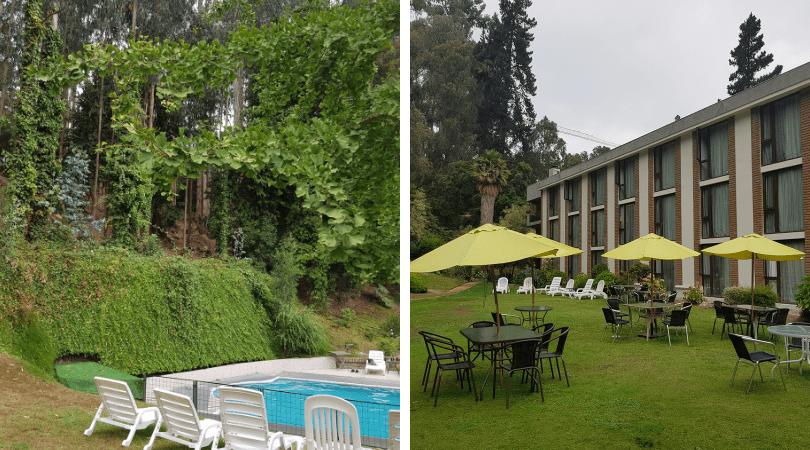 La piscina exterior, las áreas verdes y parte del bosque
