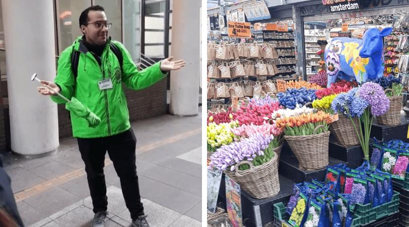 El guía muy animado explicando curiosidades de los coffee shops y el paso por el mercado de las flores
