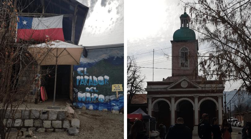 Dos de las paradas habituales de los tours, El Parador del Maipo y el centro de San José de Maipo