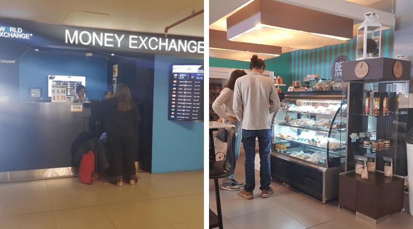 Casa de cambio y cafeterías / restaurantes encontrarás dentro del aeropuerto
