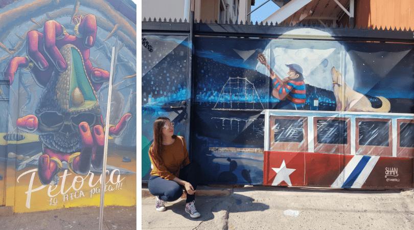 El mural con la problematica de la sequía a causa de las paltas por Mural Parlante y escenas cotidianas de Valparaíso como esta de @shatalix dan vida a los muros