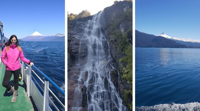 Paisajes del lago Todos Los Santos: Volcán Osorno, cascasda y Volcán Puntiagudo