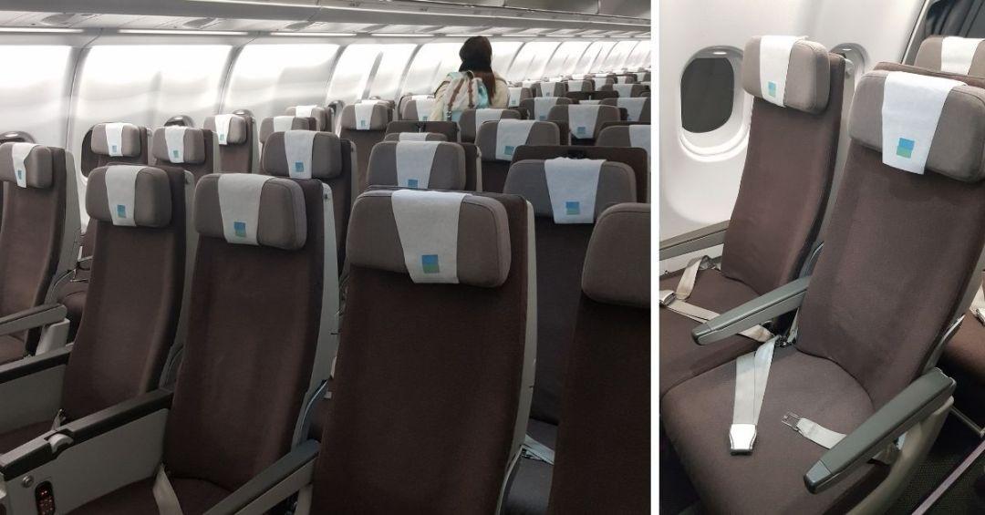 el espacio entre asientos y distribución en el vuelo de LEVEL a Barcelona