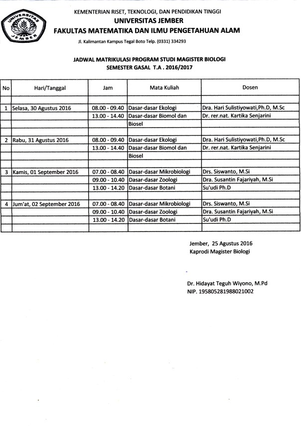 jadwal matrikulasi s2 biologi