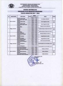jadwal matrikulasi S2 Akuntansi FEB