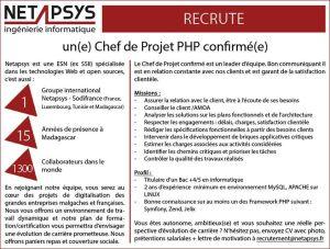 NETAPSYS-SODIFRANCE Madagascar recrute un(e) CHEF DE PROJET PHP Confirmé(e)