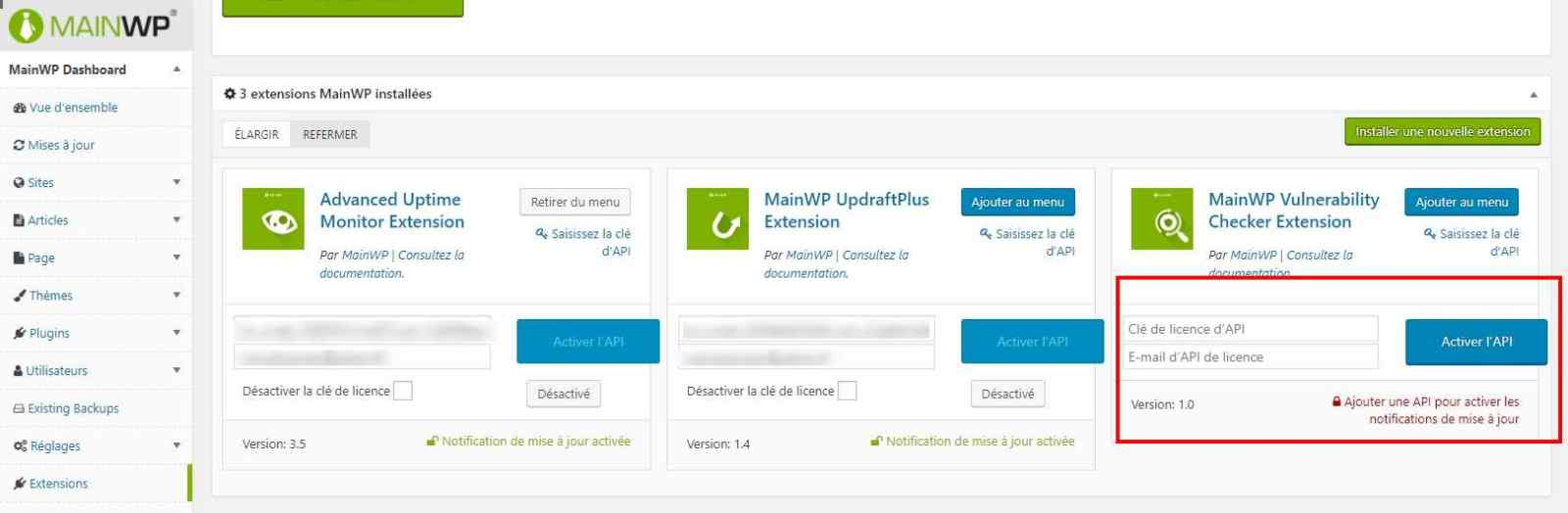 Activer une extension MainWP
