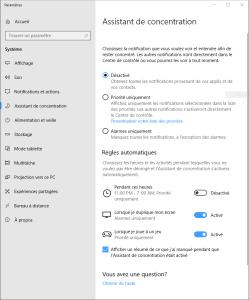 assistant concentration Windows 10 focus assist