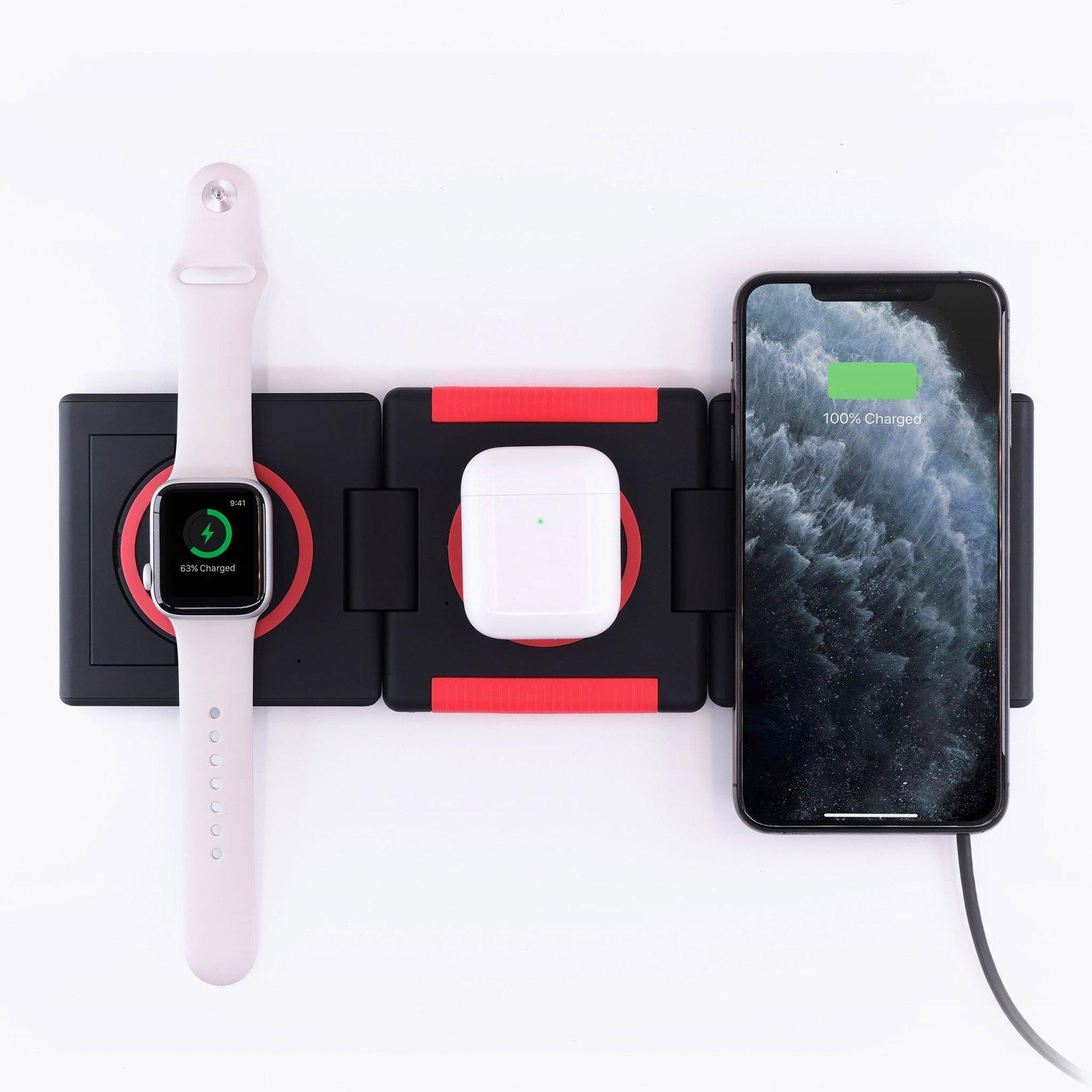 station de recharge Unravel chargeur téléphone Apple Watch Ampere Amperetech AW QI induction