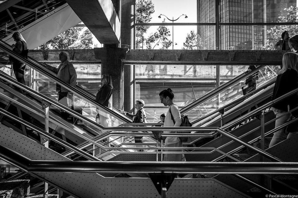 Stairs and escalators in Paris #paris #stairs #escalator #montparnasse #travel #lines #geometry #motion #picoftheday #pictureoftheday #dailypic #blackandwhitephotography #blackandwhite