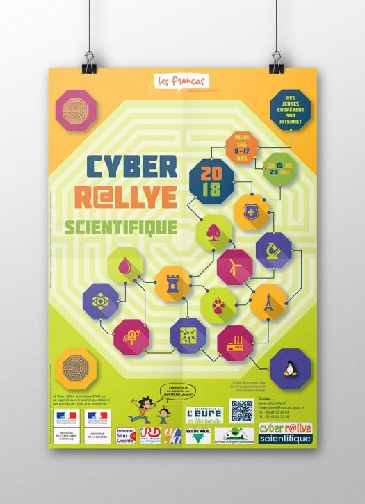Infographiste Rouen Pascal Ridel - Communication visuelle - Affiche Cyber Rallye Scientifique 2018
