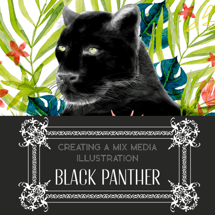 creating a mix media illustration_black panther a very powerful totem