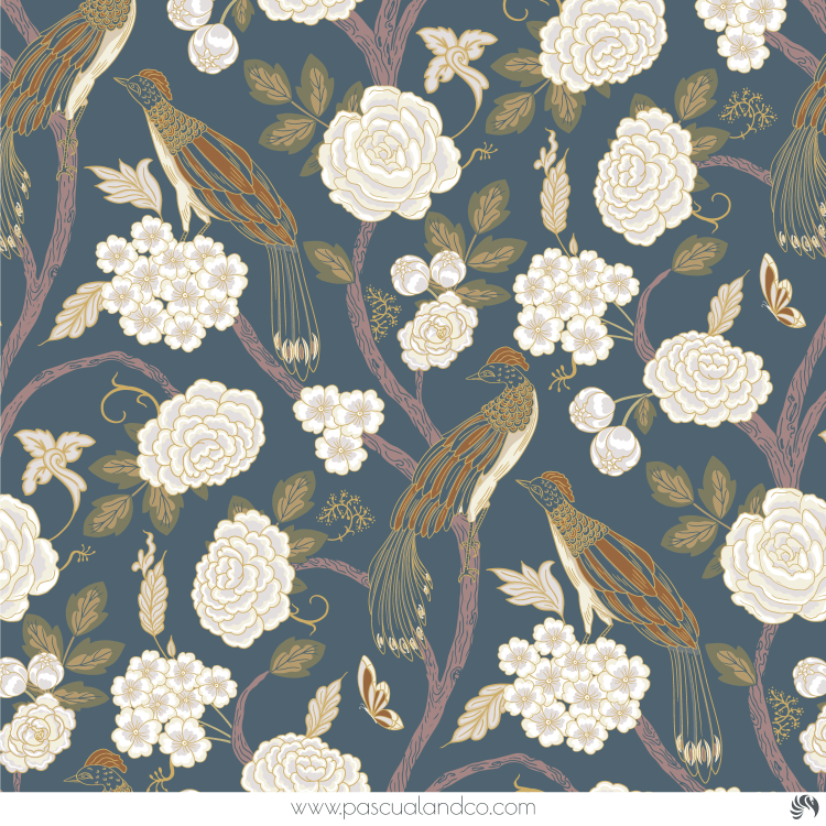 Paula, chinoiserie pattern design created by Pascûal