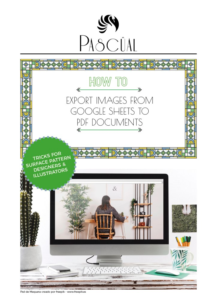 How to export images from Google Sheets to PDF documents. Free resources for surface pattern designers by Beatriz Pascual