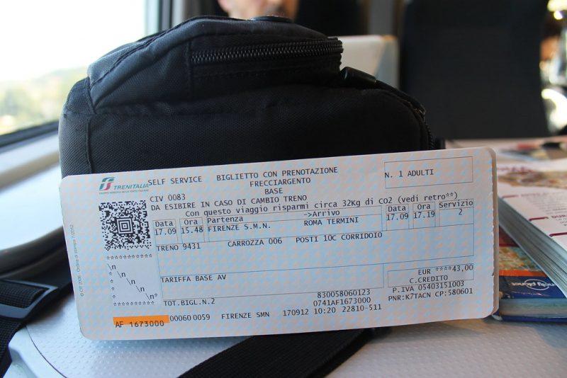 Billete tren Roma Florencia
