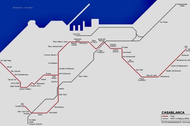 Transporte público en Casablanca Plano del tranvía