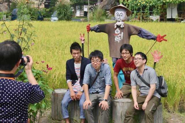 Turistas japoneses Shirakawa-go