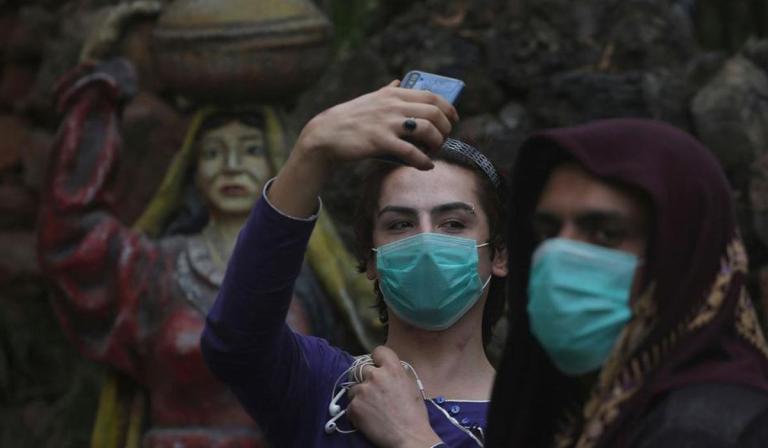 Peshawar Transgenders wearing face masks taking selfies during Coronavorus