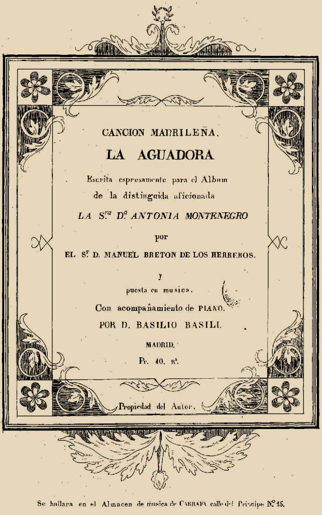 Portada de la partitura de La aguadora, canción escrita para María Antonia Montenegro