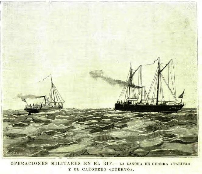 El <em>Cuervo</em> durante la Guerra del Rif. | Foto: La ilustración española y americana (15 de octubre de 1893)