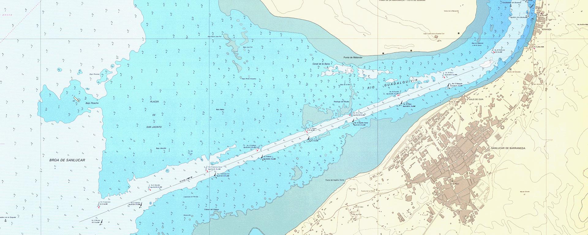 Carta náutica de la broa de Sanlúcar y el fondeadero de Bonanza.