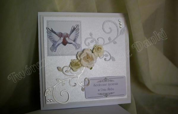Prawie w bieli – kartka ślubna