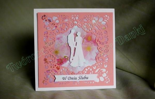 Różowa kartka ślubna