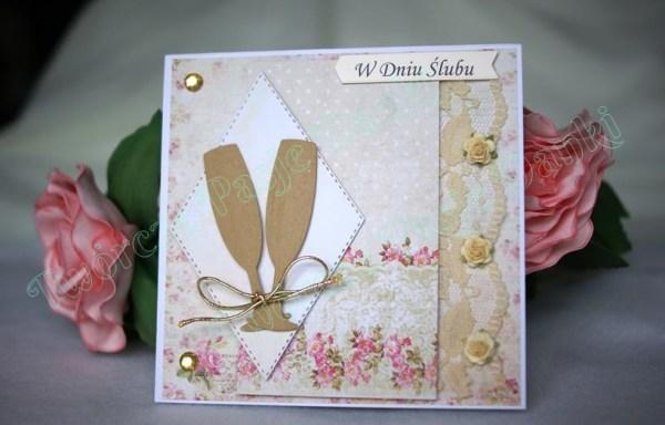Kartka ślubna z kieliszkami