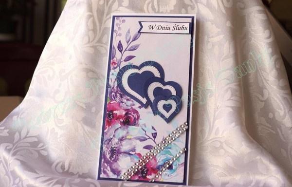 Kartka ślubna DL z serduszkami