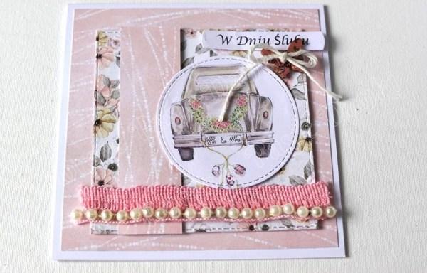 Kartka ślubna z autkiem