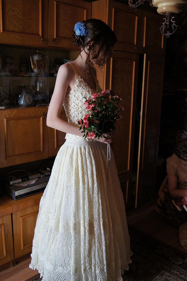 suknia ślubna na szydełku