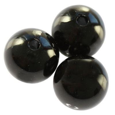 Plastikowe perełki czarne 6mm ok. 30szt.