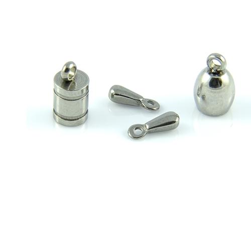 Stal chirurgiczna - Końcówka 4 x 8mm oraz końcówki dzwonki 5.9 x 9.2 mm i zakończenie do łańcuszka 2.5 x 7.5 mm