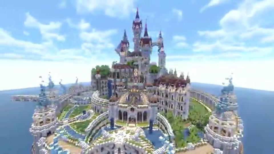 四角い世界に海にきらめく魔法の城を築いてみた-01