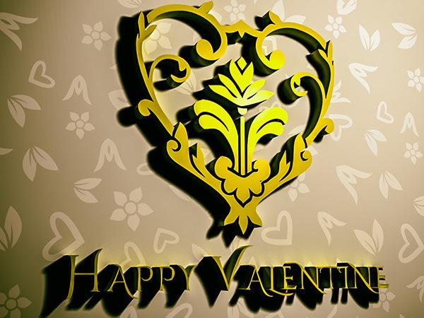 Happy Valentine1 Type2 / 3D ロゴ & テキスト(チョコレート色)