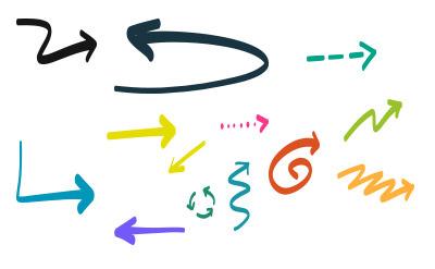 書きなぐったようなシンプルでカラフルな矢印(20)