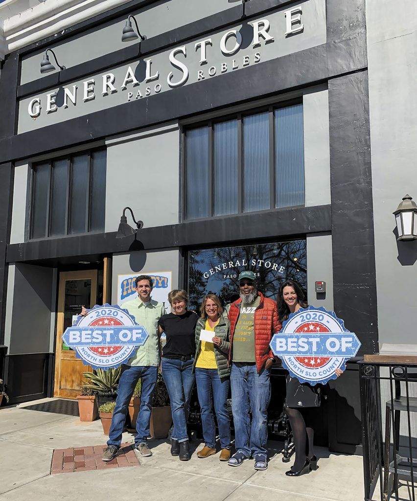 Winner Sonja Martin, middle, stands between General Store owner Joeli Yaguda and husband Earnest Martin, in receipt of a $500 shopping spree at The General Store Paso Robles