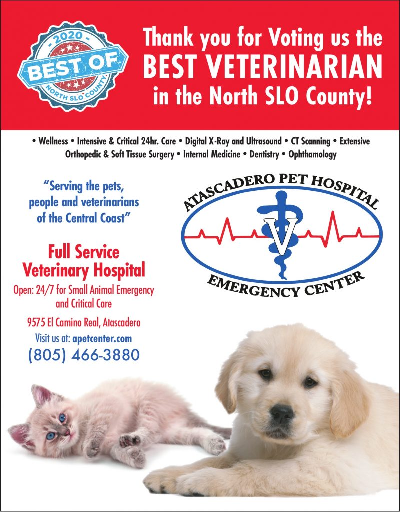 Best Veterinarian or Pet Hospital of North SLO County 2020