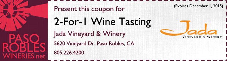 Jada 2 for 1 wine tasting coupon