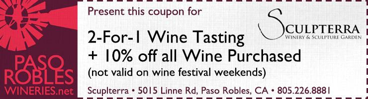 Sculpterra 2-1 Wine Tasting coupon