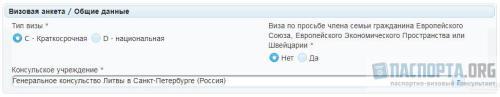 Образец заполнения анкеты на визу в Литву - Щаг 1. Визовая анкета / Общие данные