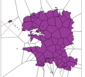 résultats des polygones (rendu transparents pour voir le département)